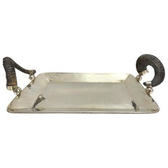 Silver Serving Tray with Rams Horn Handles