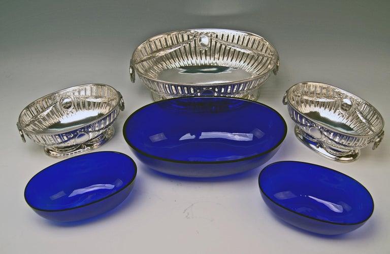 Silver Set Three Bowls Cobalt Blue Glass Liners Master Bubeniczek Vienna ca.1900 For Sale 6