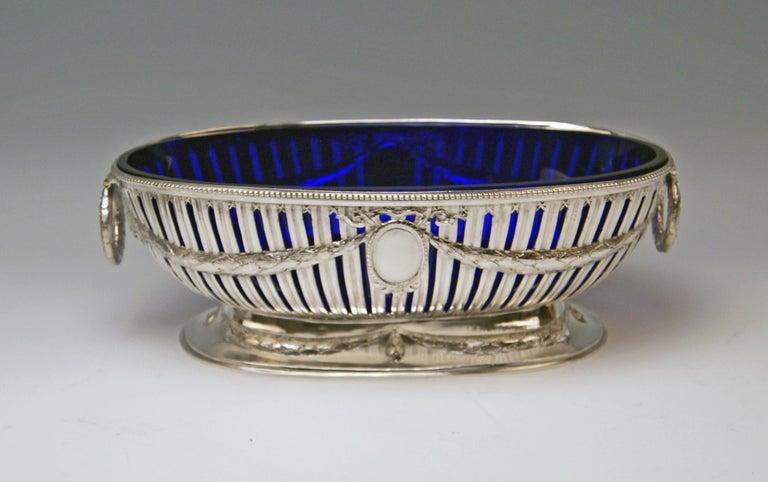 Austrian Silver Set Three Bowls Cobalt Blue Glass Liners Master Bubeniczek Vienna ca.1900 For Sale
