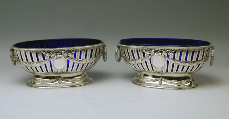 Silver Set Three Bowls Cobalt Blue Glass Liners Master Bubeniczek Vienna ca.1900 For Sale 1