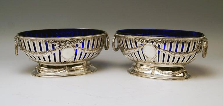 Silver Set Three Bowls Cobalt Blue Glass Liners Master Bubeniczek Vienna ca.1900 For Sale 3