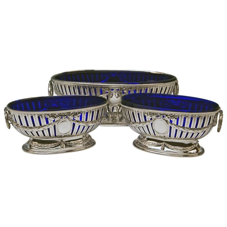 Silver Set Three Bowls Cobalt Blue Glass Liners Master Bubeniczek Vienna ca.1900 For Sale