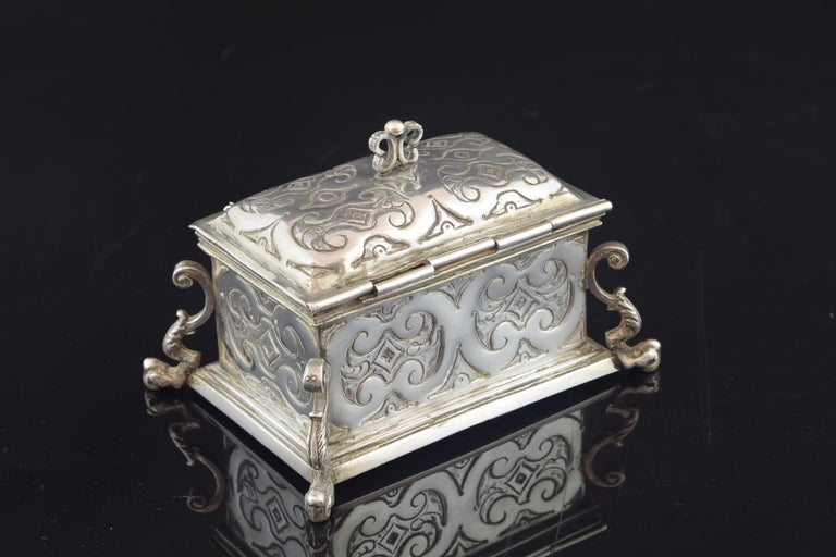 Baroque Silver Small Chest for the Holy Oil, 17th Century For Sale