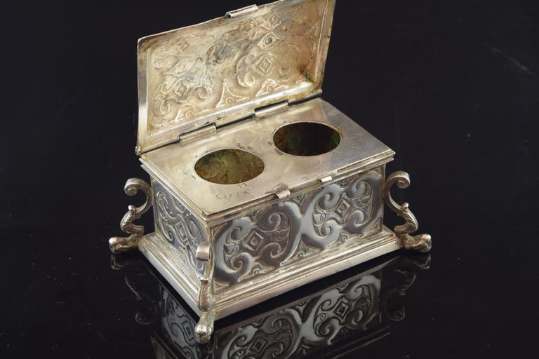 European Silver Small Chest for the Holy Oil, 17th Century For Sale