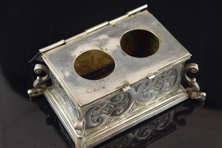 18th Century and Earlier Silver Small Chest for the Holy Oil, 17th Century For Sale