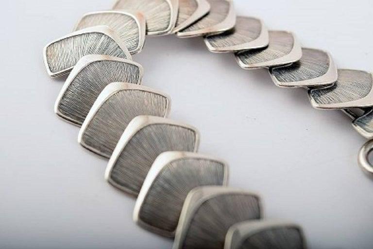 Silver Stamped Modern Scandinavian Design Bracelet  In Excellent Condition For Sale In bronshoj, DK