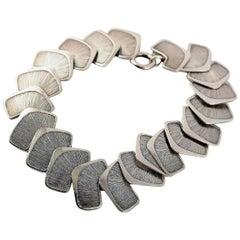 Silver Stamped Modern Scandinavian Design Bracelet