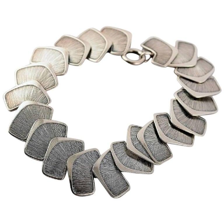 Silver Stamped Modern Scandinavian Design Bracelet  For Sale