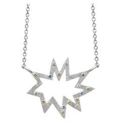 Silver Stella Nova Star Necklace with Colored Gemstones