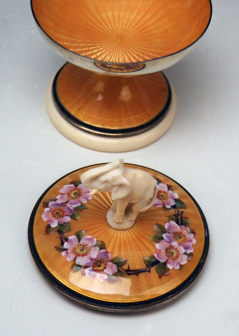 Art Nouveau Silver Sterling 925 Lidded Goblet Elephant Rose Flowers London UK 1914-1915 For Sale