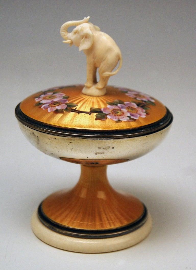 Enameled Silver Sterling 925 Lidded Goblet Elephant Rose Flowers London UK 1914-1915 For Sale