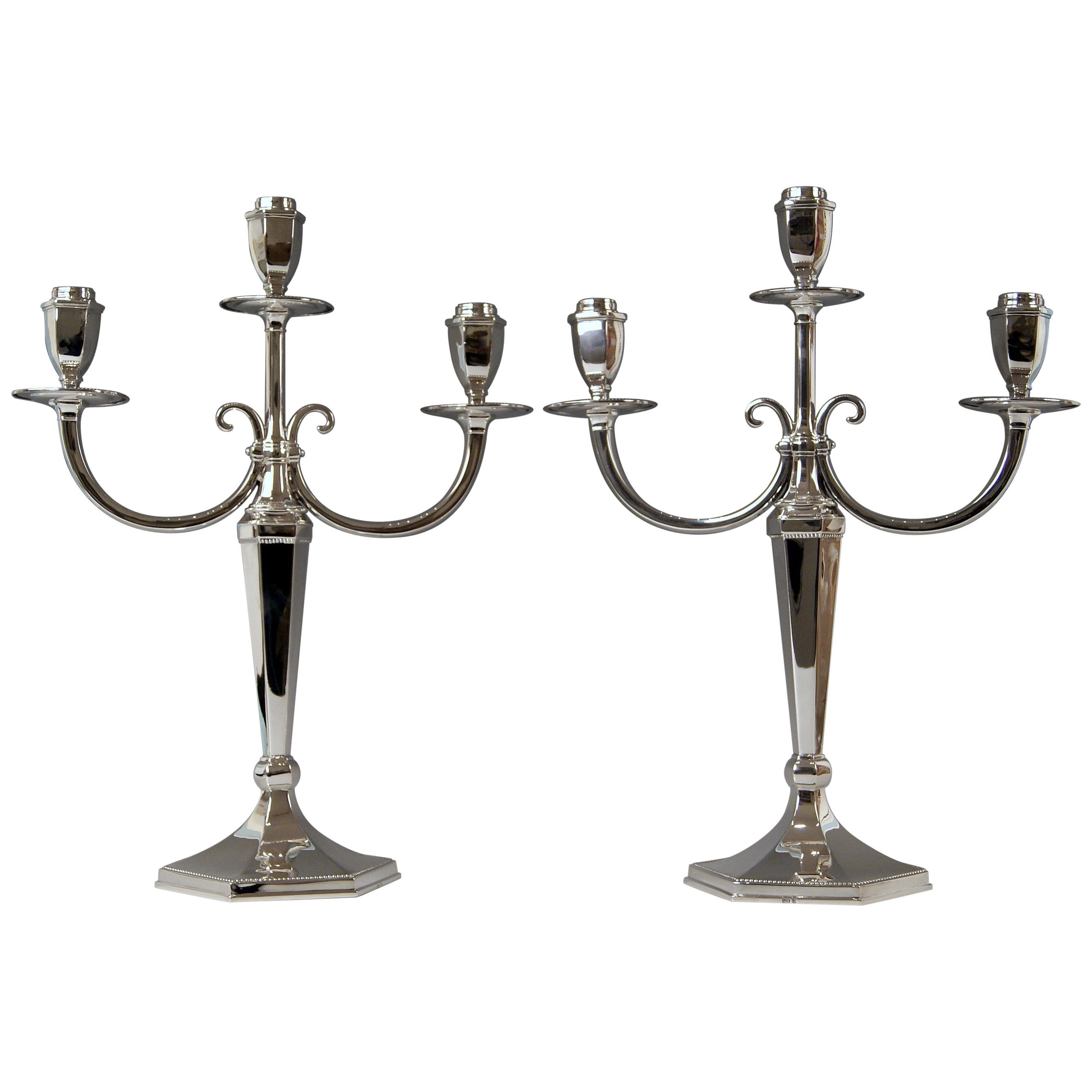 Silver Sterling Art Deco Pair of Candlesticks Three Arms Possibly, Spain