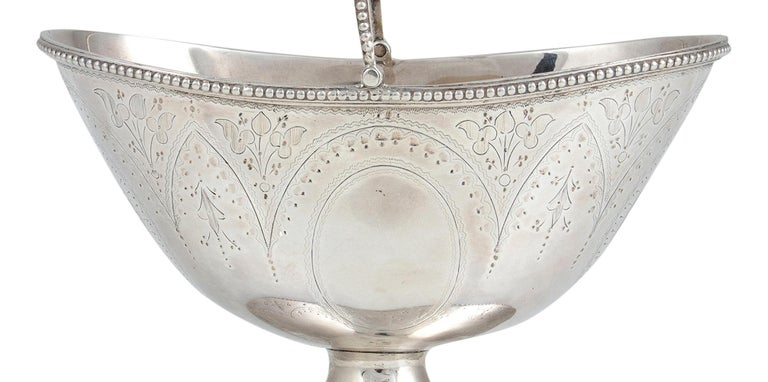 English Silver Sugar Bowl with Handle, England, 1876 For Sale