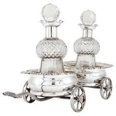 Silver Swivel-Action Double Coaster Trolley of Regency Style