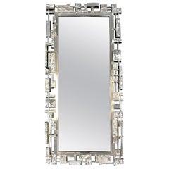 Silver Syroco Brutalist Wall Mirror