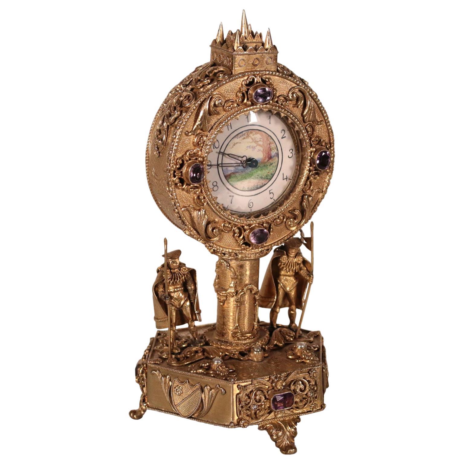 Silver Table Clock, 19th-20th Century