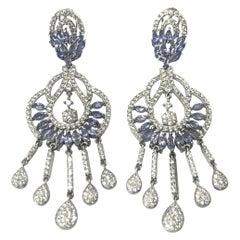 Silver Tanzanite and Cubic Zirconia Chandelier Drop Earrings