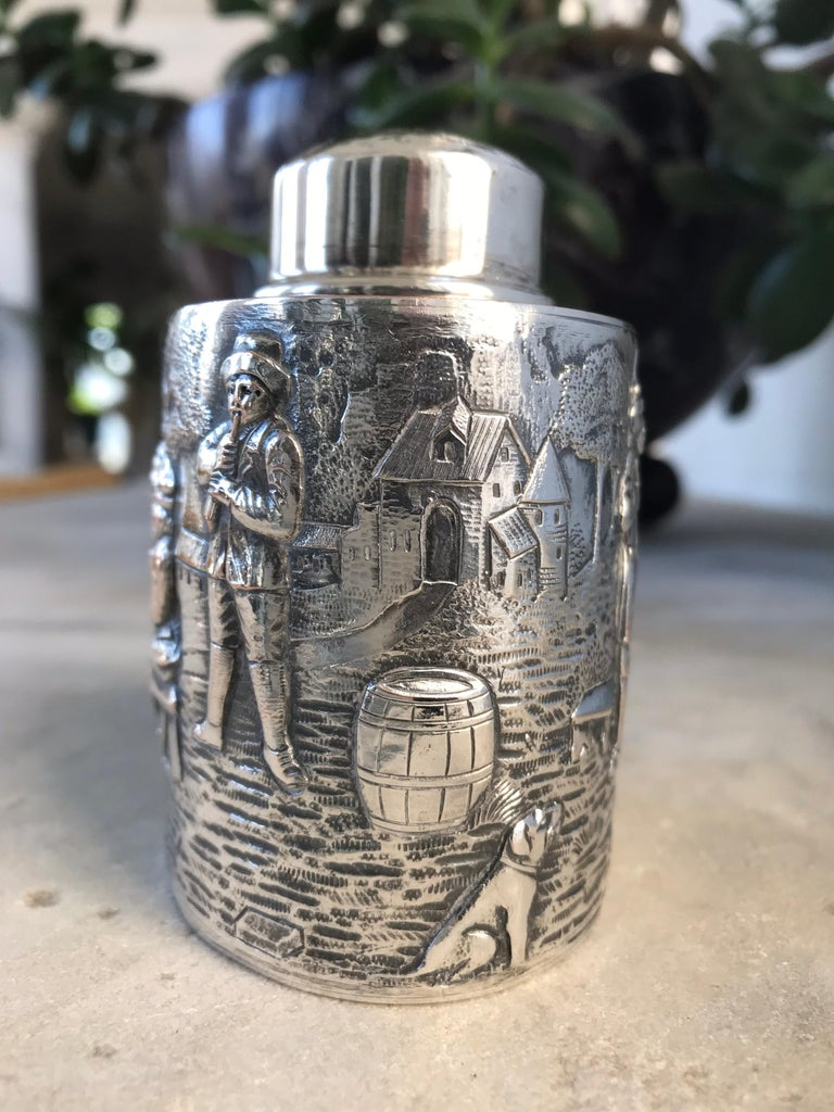 American Silver Tea Caddy For Sale