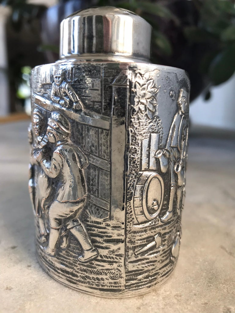 Cast Silver Tea Caddy For Sale