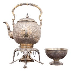 """Silver Teapot with Drip Cap, Master Feature """"K and S"""", Year 1878"""