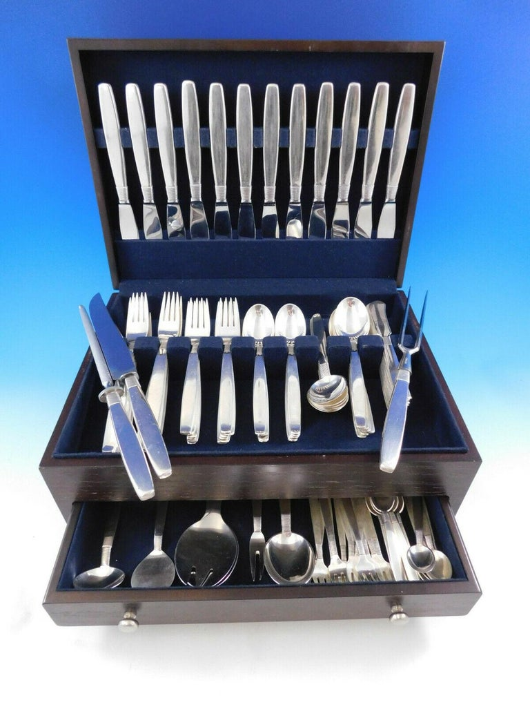 Silver thread by Franz Hingelberg Danish sterling silver flatware set - 104 pieces. Fabulous Mid-Century Modern design. The pattern design has the appearance of thread being