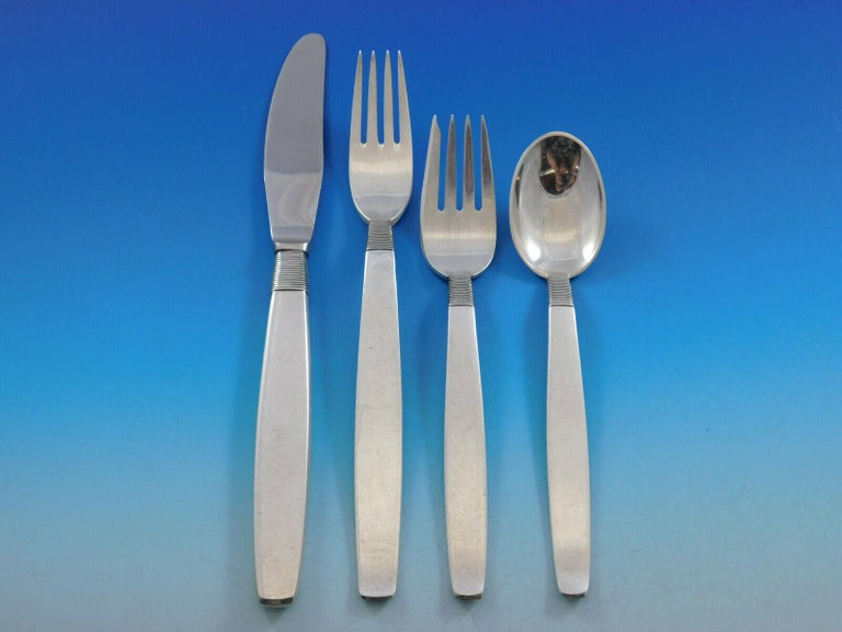 Silver Thread by Hingelberg Danish Sterling Silver Flatware Set Service 104 Pcs In Excellent Condition For Sale In Big Bend, WI