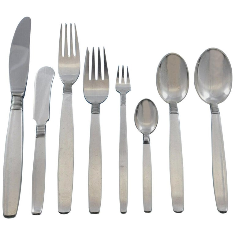 Silver Thread by Hingelberg Danish Sterling Silver Flatware Set Service 104 Pcs For Sale