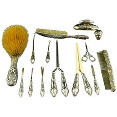 Silver toiletries Set, Birmingham, Levi & Salaman, circa Early 20th Century