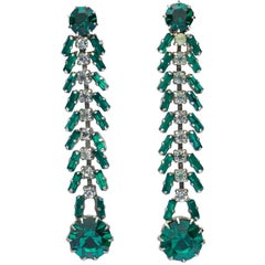 Silver Tone Emerald Green and Clear Rhinestones Vintage Clip On Dangle Earrings