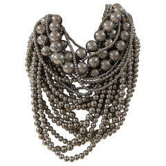 Silver tone pearls Necklace
