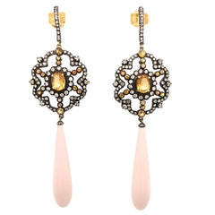 Silver-Top-Gold Diamond Citrine Coral Earrings