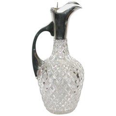 Silver Topped Cut Glass Claret Jug, Birmingham, John Grinsell & Sons, 1912