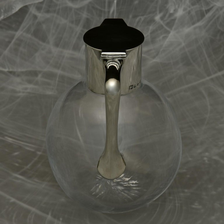 British Sterling Silver Topped Cut Glass Claret Jug, Hallmarked 1890 For Sale