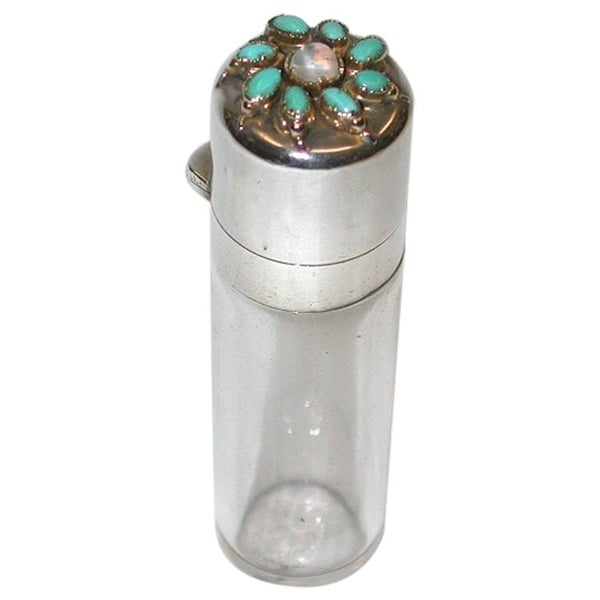 Silver Topped Glass Scent Bottle Set with Moonstone and Turquoise, Samson Mordan