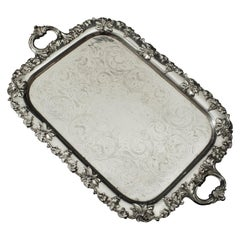 Silver Tray 'Large' English, Late 19th Century Silver Plated, No Hallmarks