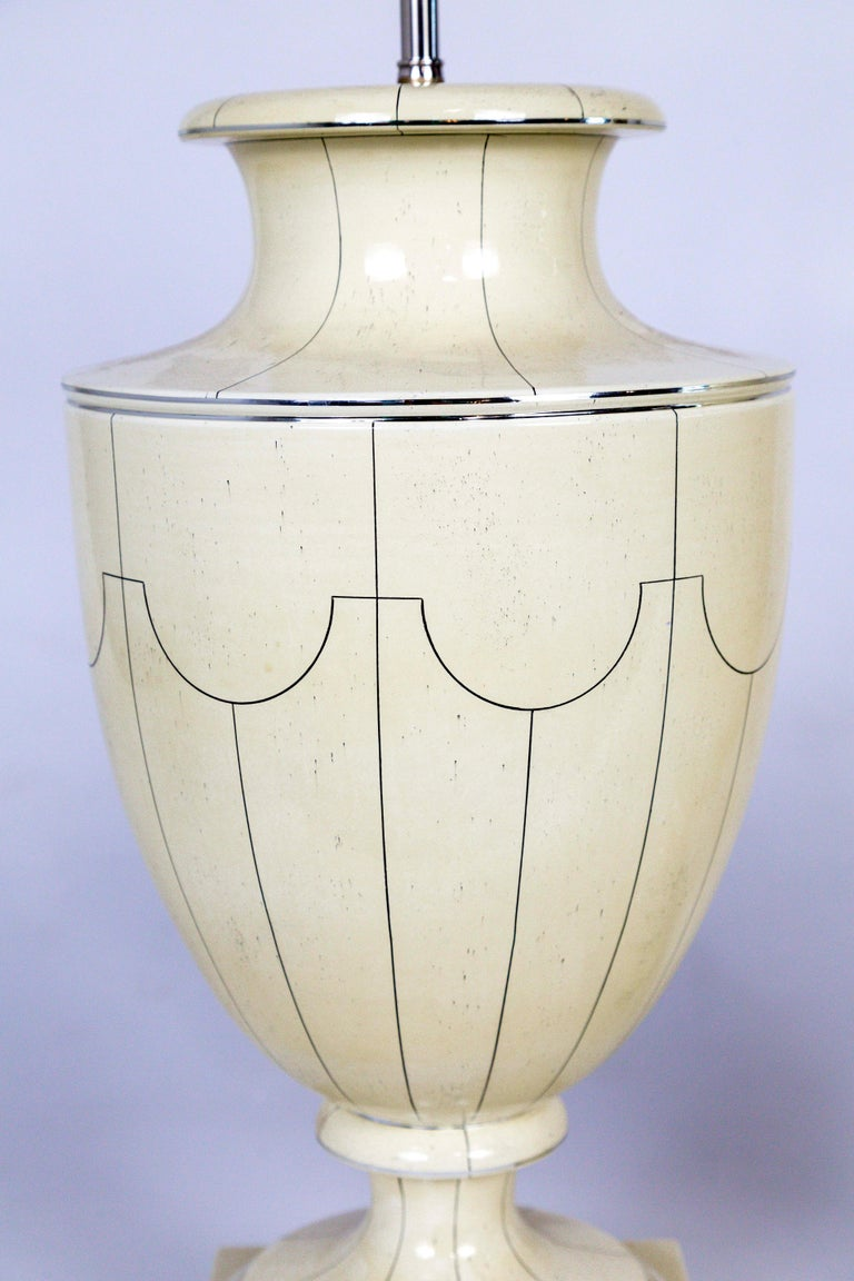 Silver Trimmed Ivory Ceramic Urn Lamps by Jean Roger In Excellent Condition For Sale In San Francisco, CA
