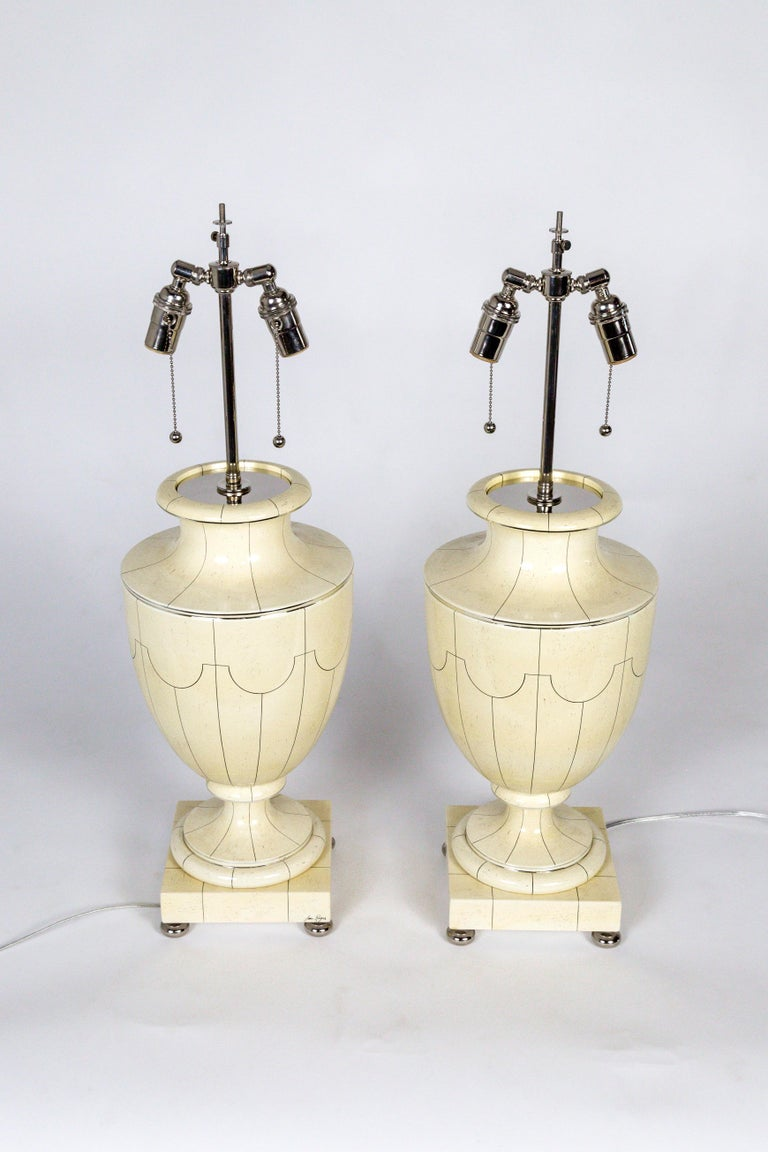 1970s Silver Trimmed Ivory Ceramic Urn Lamps by Jean Roger For Sale