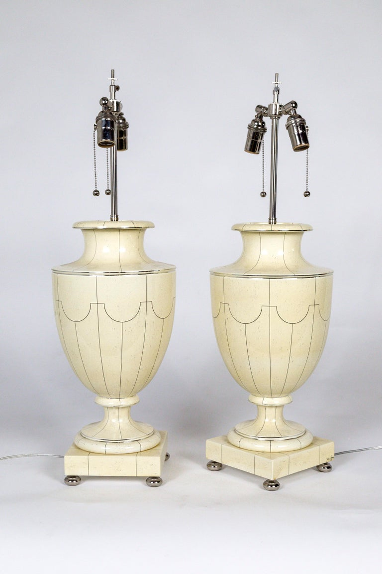 Silver Trimmed Ivory Ceramic Urn Lamps by Jean Roger For Sale 1