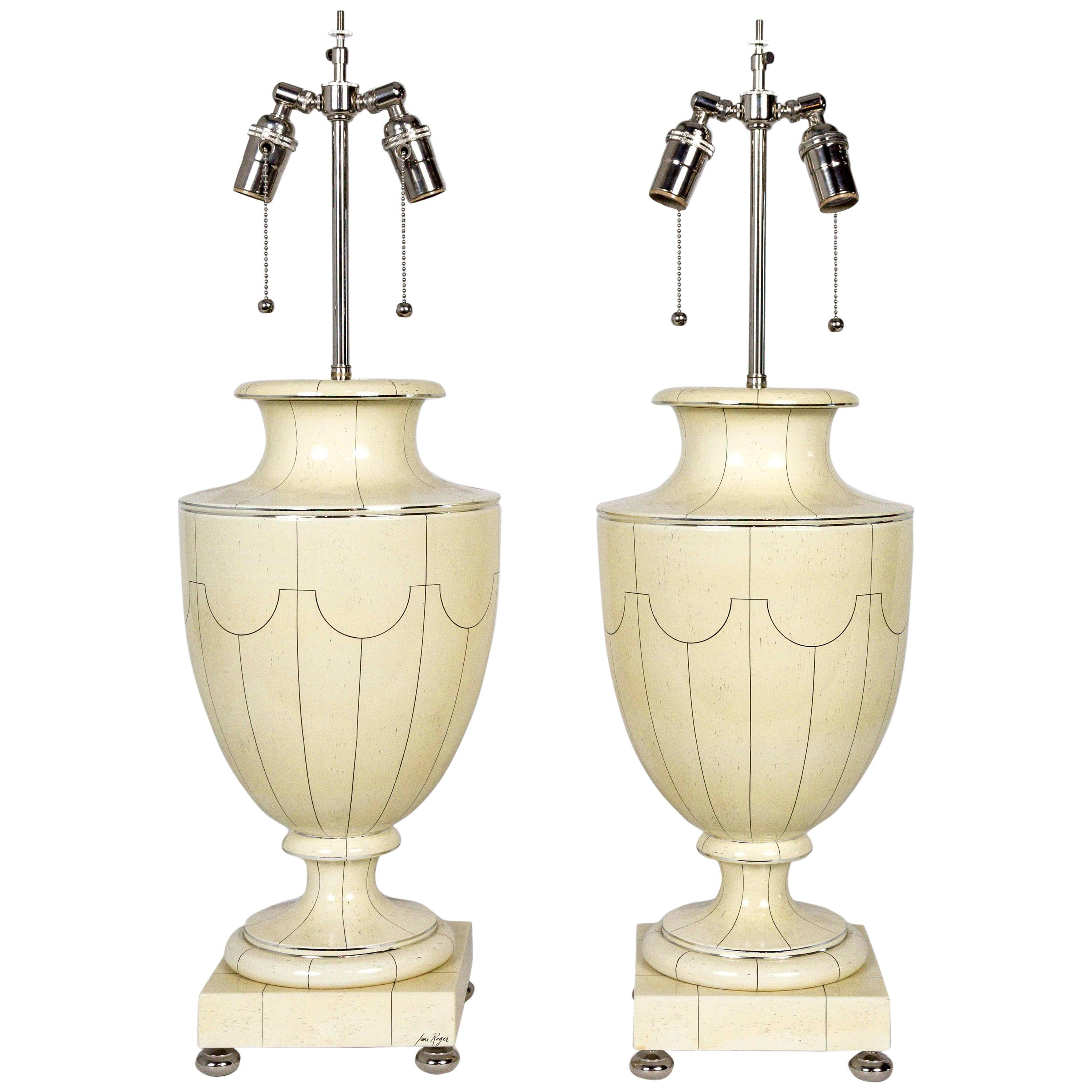 Silver Trimmed Ivory Ceramic Urn Lamps by Jean Roger