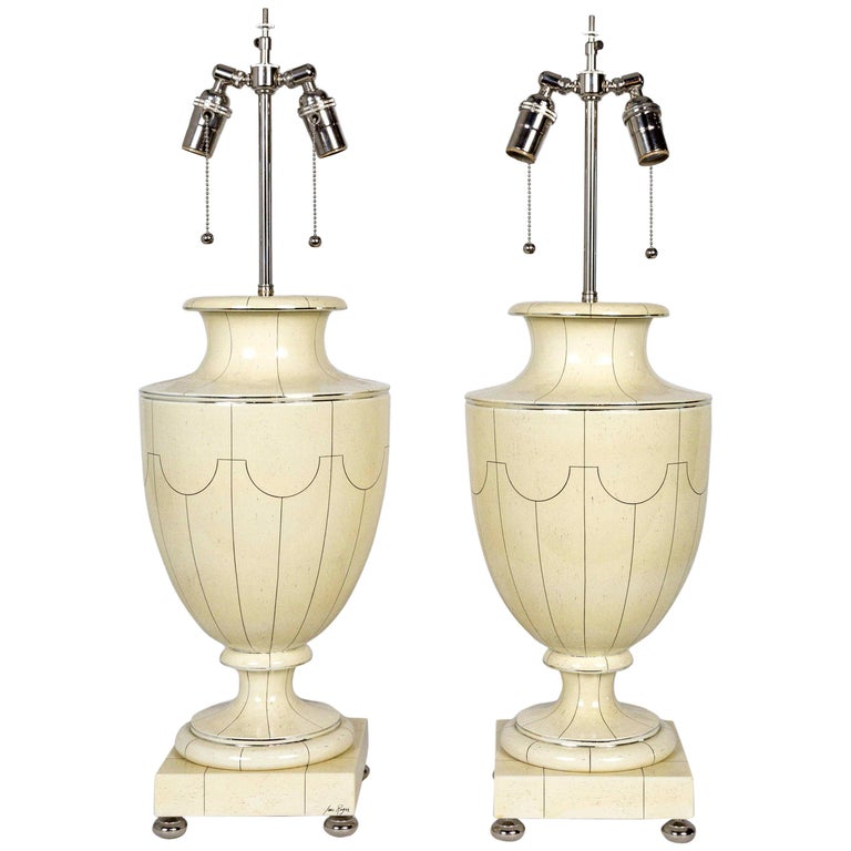 Silver Trimmed Ivory Ceramic Urn Lamps by Jean Roger For Sale