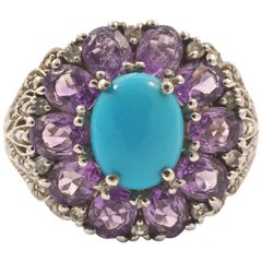 Silver Turquoise Glass and Faux Amethyst Dress Ring circa 1990s