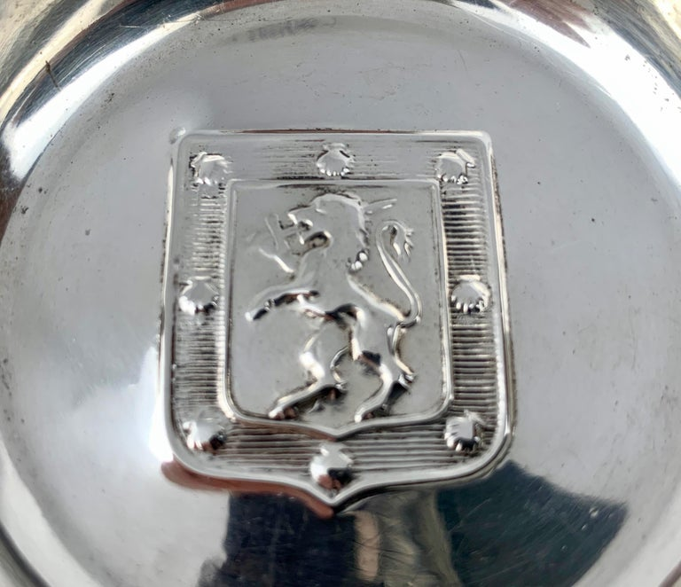 Chilean Two Handled Vintage Silver Tastevin with Shield and Rampant Lion Motif For Sale