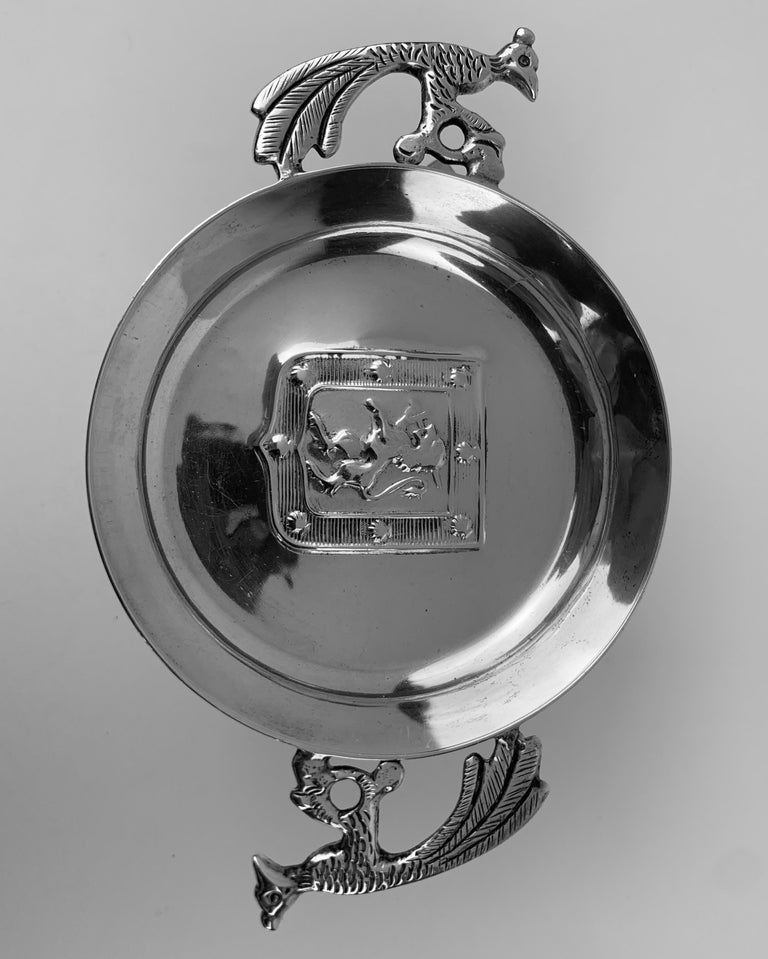 Cast Two Handled Vintage Silver Tastevin with Shield and Rampant Lion Motif For Sale