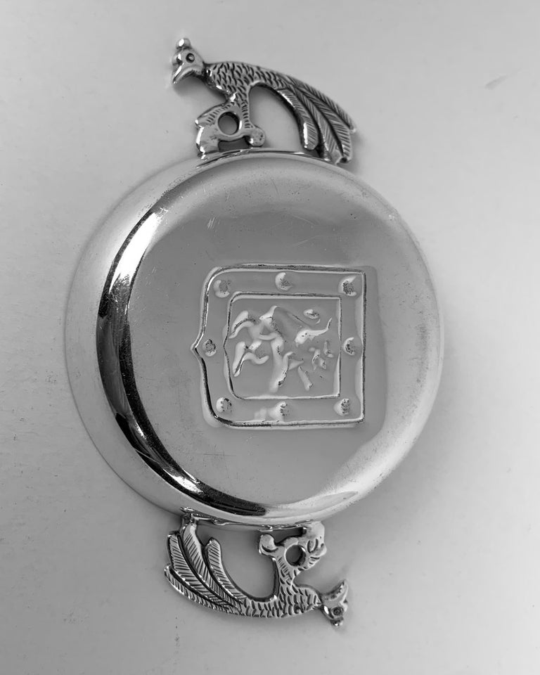 20th Century Two Handled Vintage Silver Tastevin with Shield and Rampant Lion Motif For Sale