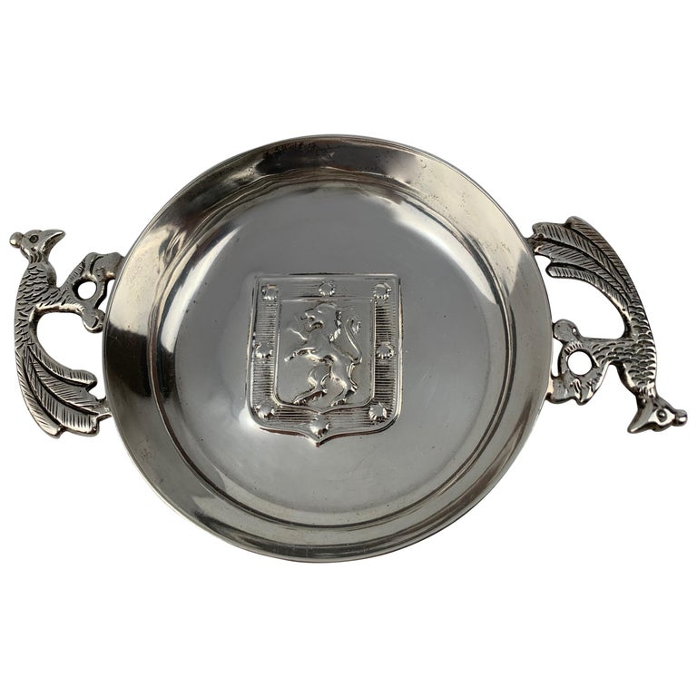 Two Handled Vintage Silver Tastevin with Shield and Rampant Lion Motif For Sale
