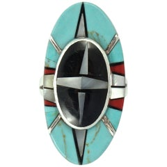 Silver Two Tiered Ring Inlaid with Turquoise Onyx Coral and Mother-of-Pearl