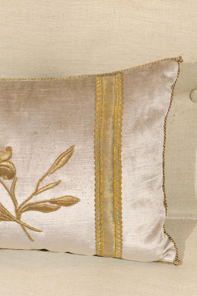 Silver Velvet Pillow with Raised Gold Metallic Embroidery of a Lily Flower For Sale 7