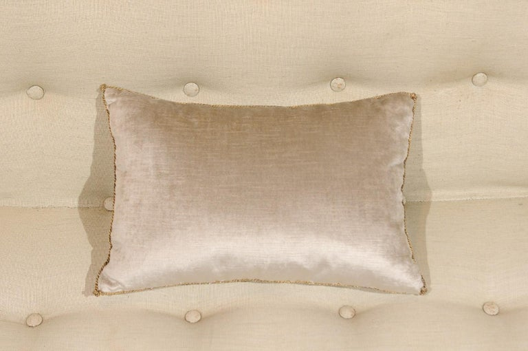 Silver Velvet Pillow with Raised Gold Metallic Embroidery of a Lily Flower In Good Condition For Sale In Atlanta, GA