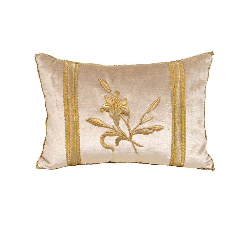 Silver Velvet Pillow with Raised Gold Metallic Embroidery of a Lily Flower For Sale