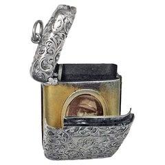 Silver Vesta Match Case Locket, Birmingham 1903 C & Co